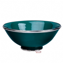 Moroccan Ceramic Bowl Dark Emerald Green with Silver Edge Large Handmade 30 cm / 11.8""